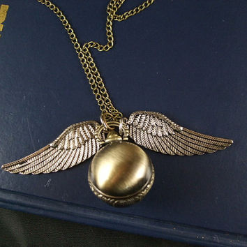 harry potter pocket watch the death hallows Cicada witch wings ball angel necklace pendant chain charm antique jewelry