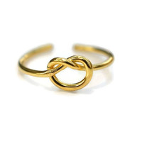 Gold Knot Toe Ring - Sterling Silver Yellow Gold Plated Knot Toe Ring