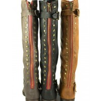 Bamboo Montage-83 Black, Chestnut, Taupe Knee-High Riding Boot Back-Studs | Shoetopia.com