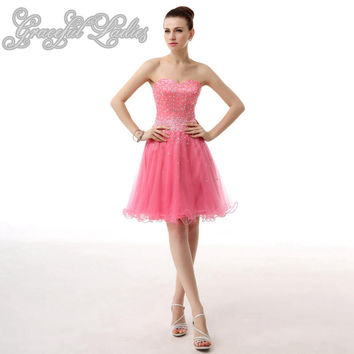 Pink Tulle Short Prom Dresses Rhinestones Beads Natural Waist Knee Length Prom Party Dresses Plus Size Real Image Prom Dresses