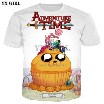 YX GIRL 2018 summer New Fashion 3d t-shirt Classic cartoon Adventure Time Print Men/Women t shirts Casual Cool Tee shirts