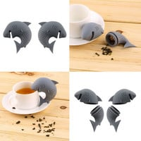 Cute Silicone Shark tea infuser Leaf Strainer Herbal Spice Filter Diffuser Filter Teapot Teabags for Tea & Coffee Drinkware