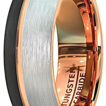 CERTIFIED 8mm 18k Rose Gold Wedding Band Black White Brushed Tungsten Ring Thin Side Groove Dome Edge Comfort Fit
