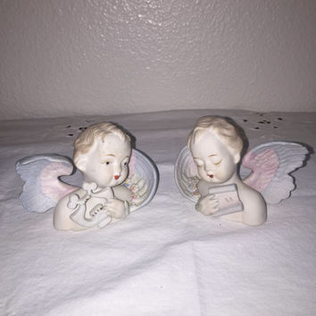 Vintage Bisque Angels, Cherubs, Marked Made In Japan, Lamore China,  Numbered 432, Collectibles, Home Decor