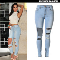 Hot sale fashion show thin tall Waist hole light blue cowboy pants