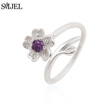 SMJEL 2017 New Vintage Daisy Flower with purple Crystal Rings Women anillos Adjustable ring anel masculino SYJZ084