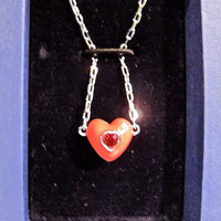 "Vintage SWAROVSKI Red Enamel and Crystal Heart Pendant Necklace-Signed, In Original Box, 16"" Silver Chain"