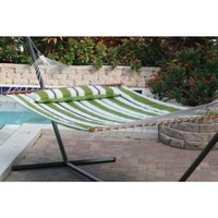 Smart Garden, Santorini 13 ft. Premium Cotton Reversible Double Hammock in Green Stripe or Solid Green, 51325-RGRN at The Home Depot - Mobile