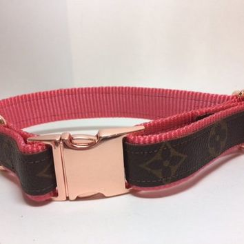 Louis Vuitton Dog Collar with Floral Pattern, Leash Available, Repurposed LV,  Choice of colors and sizes, authentic LV bags used ONLY