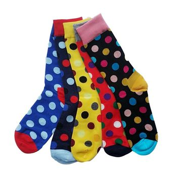 Hot sale! men socks long autumn-winter fashion colorful dot cotton sock male and men's knee high business happy socks