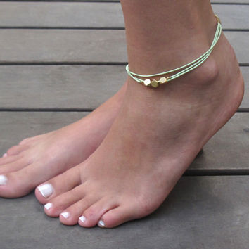 Light Green Anklet - Multistrand Ankle Bracelet - Gold Anklet - Foot Jewelry - Foot Bracelet - Chain Anklet - Summer Jewelry - Beach Jewelry
