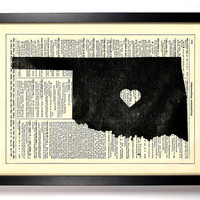 Oklahoma State Dictionary Book Print Upcycled Book Art Upcycled Vintage Book Print Antique Dictionary Buy 2 Get 1 FREE
