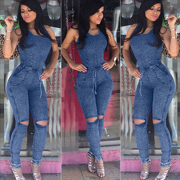 Sleeveless Cutout Knee Blue Denim Jumpsuit