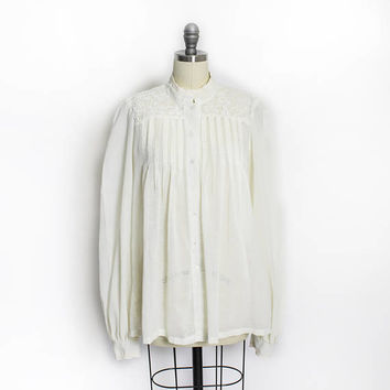 Vintage 1970s GUNNE SAX Blouse - Ecru Sheer Cotton Lace Button Up Peasant Top - Small / Medium
