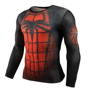 Spiderman Ironman Superman Captain America Compression Shirt Superhero Soldier Marvel Comics Mens Long T Shirt