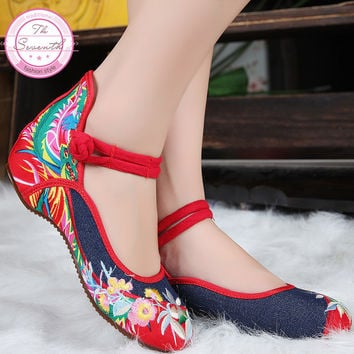 Women's fashion casual Chinese style national soft sole embroidery Old Beijing cloth single shoes