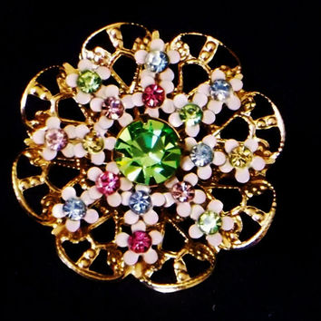 Round, Gold Tone Brooch, Pin, Multi-Color Rhinestones, Wire Brooch, Pin, Gold Tone Metal, Excellent Condition, Estate Piece