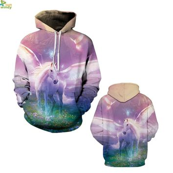 White Unicorn Hooded Hoodies Psychedelic Pink Space Skateboard Sweatshirts Winter Loose Sport Suits Autumn Coat Women's Jackets