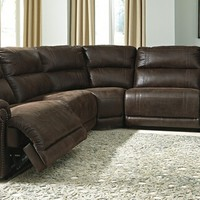 Ashley Furniture 93101-40-46-77-19-41 5 pc luttrell collection espresso colored fabric sectional sofa with three recliners