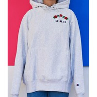 Gucci + Champion Fashion Embroidery Flower Rose Sweater Pullover Hoodie Grey