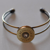 Vintage Rare  Remington  Peters 12 Gauge  Shotgun Shell Bullet Cuff Bracelet  Antique Bronze Brass Finish Swarovski Crystal