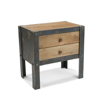 Bolt Industrial Chic Nightstand Natural Fir Wood