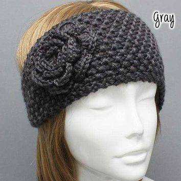 winter knitted headband with side flower, ear warmer, head muff, earmuff, knit headband, flower hat, flower ear wamer
