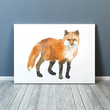 Cute fox art Watercolor poster Nursery print ACW45