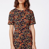 Missguided - Molly Shift Dress Navy Floral