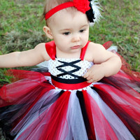 The Pirate Tutu Dress & Headband- Halloween, Costume, Pageant, Birthday, baby girl, infant, toddler, child