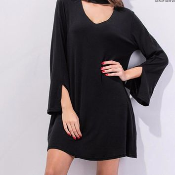Women's Black V-Neck with Choker Shift Dress with Slight Bell Sleeve with Pockets
