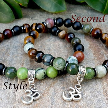 Good Luck Mens Om Bracelet, Natural Green Nephrite Jade, Black Onyx, Tiger Eye, Iron Eye, Indian Agate, Mens Om Jewelry, Gift for Boyfriend