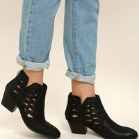 Sutton Black Cutout Ankle Booties