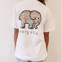 Ivory Ella Trending Leisure Elephant Print Short Sleeve Round Collar T-Shirt Top White
