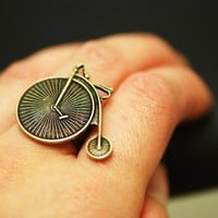 Steampunk high wheeled bicycle ring by grigio on Etsy