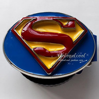 2014 New Arrival Men's Fashion 3D Design Classic Superman Superhero Sign Logo Blue Red Yellow Metal Belt Buckle Birthday Gift Brother Boyfriend Cool Gift Idea = 1946292036