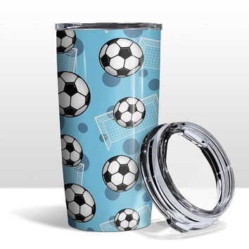 Blue Soccer Tumbler Cup - Soccer Ball and Goal Pattern on Blue - 20oz Insulated with Clear Lid - Hot or Cold Beverages - Made to Order