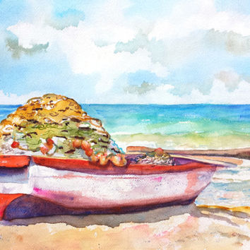 Original Watercolor Boat Painting, Old Wood Fishing Boat, 12x16, Tropical Sandy Beach, Ocean Water, Nautical Theme, Landscape, Seascape