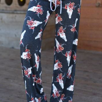 Fancy Floral Lounge Pants - Bohemian Skulls