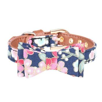 DSOFT PU Leather Dog Collar Bow Flower Print Small Dog Leash Collar Bandana Outdoor Pet Walking