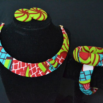 Red, Green, and Blue Ankara Earring