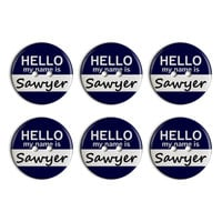 Sawyer Hello My Name Is Plastic Resin Button Set of 6