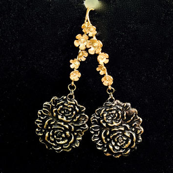 Gold Bronze One of a kind Rose dangle earrings. Handmade w precious metal clay. 18k gold clad Bronze Flower designer wires