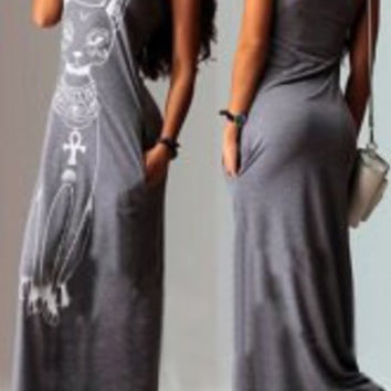 Gray Animal Printed Maxi Dress