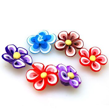 High quality handmade polymer clay fimo flower,20mm caly flower,assorted polymer clay flower beads for jewelry supplies