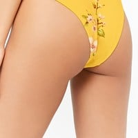Floral Print High-Cut Bikini Bottoms