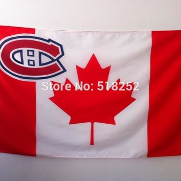 NHL Montreal Canadiens Flag with Canada- Flag Banner  3x5 FT 150X90CM Flag100D Polyester flag 1123, free shipping