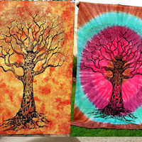 2 Tapestries Tie Dye Twin Tree Bohemian Mandala Wall Yoga Mat Throw Bedspread