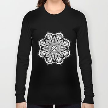 Black and White Flower Long Sleeve T-shirt by Azima