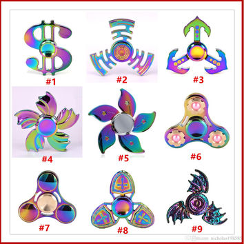 Rainbow USD Dollar UFO Maze Bat Crusaders Flowers Wings Fidget Hand Spinner Metal Finger Toy for ADHD Relieve Anxiety Desk Toys Kids Gift